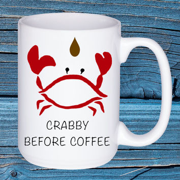 Crabby Before Coffee Mug Ocean Beach Cottage Home Decor Funny by Wave of Life™