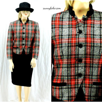 Plaid Pendleton jacket size 12 / 14 vintage 80s red / gray wool blazer velvet collar satin lined retro plaid blazer  jacket SunnyBohoVintage