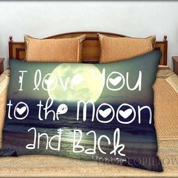 "I Love You to The Moon And Back - 20 "" x 30 "" inch,Pillow Case and Pillow Cover."