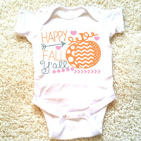 Happy fall ya'll baby Onesuit, available in sizes newborn, 6 months, 12 months, 18 months funny graphic baby Onesuit