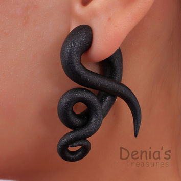 Fake Gauge Earrings - Black 8 - Polymer Clay, Fakers