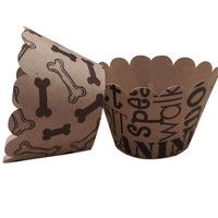 Cupcake Wrapper Dog Bones and Dog Words, Tea Party, Birthday Celebration, Black, Brown and Kraft