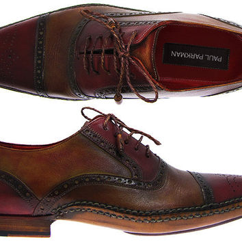 Paul Parkman Men's Cap-Toe Brogue Oxford Shoes - Bordeaux & Tobacco Hand-Burnished Leather Upper With Double Side-Stitched Leather Sole