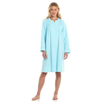 Miss Elaine Essentials Brushed Back Terry Snap Duster Robe - Women's, Size: