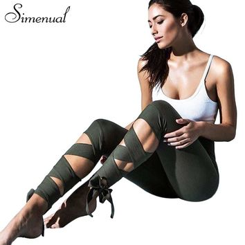 Lace up strappy leggings.