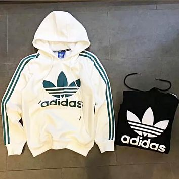 Adidas New fashion bust letter leaf print thick keep warm stripe couple hooded long sleeve sweater top Black