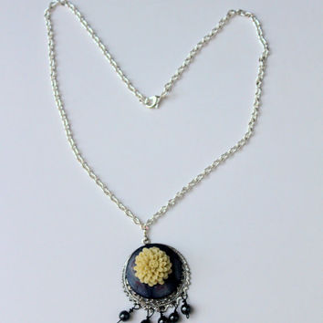 Pendant Necklace, Black White Necklace, Flower Pendant, Mother Of Pearl, Pyrite Bead Drops, Metal Chain