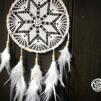 Dream Catcher - Pure Mandala - Unique Dream Catcher with White Handmade Crochet Web and White Feathers - Wedding Decoration, Nursery Decor
