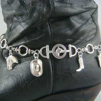 Boot Bling ~ Bracelets for Boots ~ Boot Bracelet ~ Boot Jewelry - Cow Girl Boot Bracelet - Western Theme Boot Bling