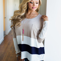 Needing Someone New Color Block Top Taupe