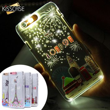 KISSCASE Cute Luminous Case For iPhone 6S Plus Fashion City Series Call Flashing Hard PC Ultra Thin Phone Shell For iPhone 5S SE