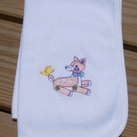 Burp Cloth, Baby Shower Gift- Embroidered Girl Burp Cloth