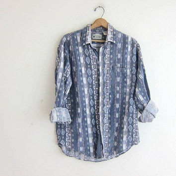 Vintage tribal shirt. southwestern flannel shirt. faded wash out blue button up shirt.