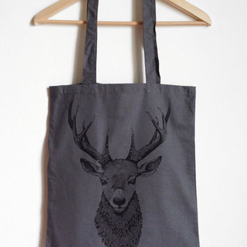 Deer bust canvas tote bag. screen printed on 100% cotton.GREY.GIFT idea for her or for him. Handmade illustration, for animal/nature lovers!