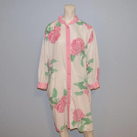 Vintage Pierre Cardin Floral Print Nightgown Size Medium Night Shirt Pajamas Button Down Long Sleeve Rose Flowers Pattern Night Gown