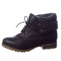 Refresh Ice Breaker Faux Leather Lace Up Sweater Cuff Boots - Black