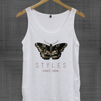 Harry Styles Tattoo butterfly one direction Tank Top Sleeveless,Cute Tank, Women shirt,Fashion Hipster tanks,Unisex M L,
