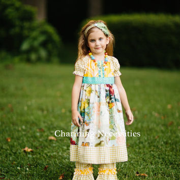 Girls Fall Peasant Dress with Sash in Exquisite Short or Long Sleeve Vintage French Shabby Chic Boutique Clothing