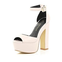 River Island Womens Light pink peep toe platform sandals