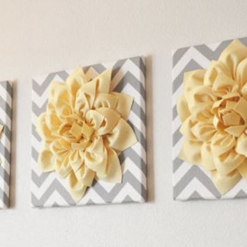 "MOTHERS DAY SALE Wall Flower -Light Yellow Dahlia on Gray and White Chevron 12 x12"" Canvas Wall Art- 3D Felt Flower"