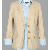 Beige Women Spring New Style Long Sleeve OL Slim Blends Suit Coat XL @WH0392be $10.99 only in eFexcity.com.