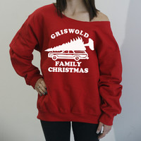 Griswold Family Christmas. Slouchy oversized sweatshirt. Off the shoulder holiday sweater. National Lampoons Christmas Vacation.