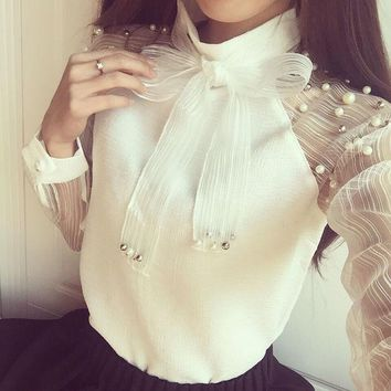 DCCKL3Z 2017 New Spring Elegant Long Sleeve Beaded Organza Bow Of Pearl White Blouse Casual Chiffon Shirt Women Blouses Tops Blusas