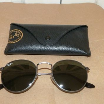 RAY BAN RB3447 50 21mm ROUND GUNMETAL WIRE G15 UV AVIATOR SUNGLASSES