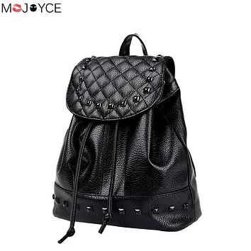 Woman Backpacks 2017 Diamond Lattice Rivet Schoolbags for Girls Female High Quality Washed Leather Backpack Mochila Escolar