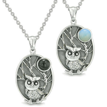 Amulets Love Couple Owl Wild Woods Magic Moon Simulated Black Onyx Simulated Opalite Pendant Necklaces