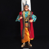 Istanbul Turkey Souvenir Doll Man in Ethnic Costume Hand Made Cloth Feathers Mid Century Era 618