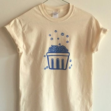 Blueberry Screen Printed T Shirt, Fruit Print