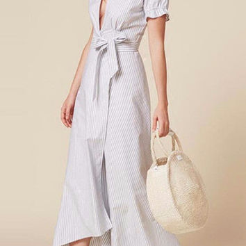 Loose Tops Asymmetrical Striped Short Sleeve Shirt Waist Tie Bow Dress