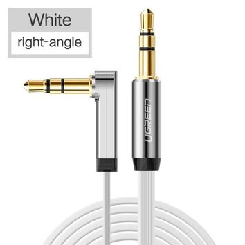 AUX Cable 90 Degree Right Angle Flat Jack 3.5 mm for iPhone Car Headphone Speaker