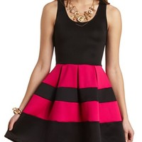 BANDED STRIPE SKATER DRESS