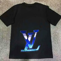 LV New fashion bust letter print and back sequin letter couple top t-shirt Black