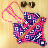 New Fashion Women Sexy Retro Print Striped High Waist Bow Bikini Set Swimwear Swimsuit Beach Bathing Suit Plus Size S,M,L,XL,2XL