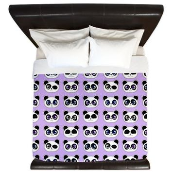 Cute Panda Expressions Pattern Purple King Duvet