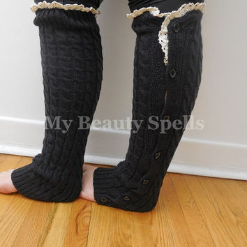 Lace socks trim high knee Dark Gray boot toppers Charcoal womens leg warmer buttons, girls lace trim socks