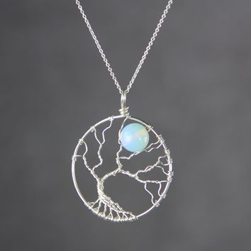 Tree of life opalite moon branch wiring pendant necklace Free US Shipping handmade Anni Designs