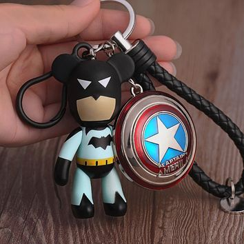 Batman Avengers Character Captain America Shield KeyChain Bear PU Strap Key Chains Pendant for Backpack Car Keyring Accessories