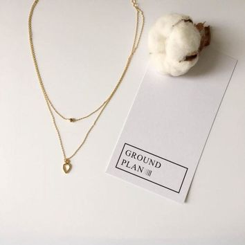 ONETOW Jewelry New Arrival Gift Shiny Stylish Double-layered Simple Design Korean Necklace [10412392596]