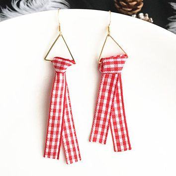 ES364 Long Ribbon Drop Earrings Women Knot Lattice Cloth Dangle Brincos Triangle Fashion Jewelry Summer Bijoux For Students
