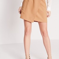 Missguided - Buckle Wrap Pocket Mini Skirt Camel