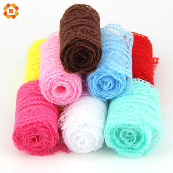 10Yard Lot New Selling Lace Ribbon Width 45MM DIY Embroidered Net Lace Trim Fabric For Sewing Wedding Decoration 10Colors 9.5m