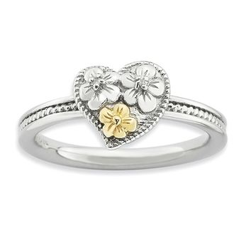 Sterling Silver & 14k Gold Stackable Expressions Diamond Heart Ring