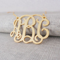 Gold Monogram Necklace,Gold Monogrammed Initial Necklace,Celebrity 3 initials Monogram Necklace,Nameplate Necklace Gold,Bridesmaids Gift
