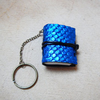 Miniature leather journal keychain notebook gift charm book blue reptile snake amazon