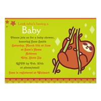 Cute Sloth Baby Shower Invites