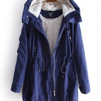 Blue Hooded Long Sleeve Zipper Drawstring Coat - Sheinside.com Mobile Site